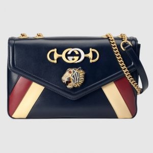 Gucci Blue Multicolor Rajah Medium Shoulder Bag