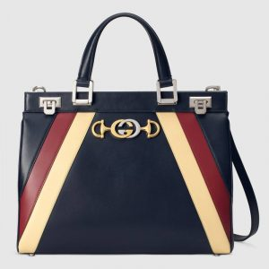 Gucci Blue Multicolor Zumi Medium Top Handle Bag