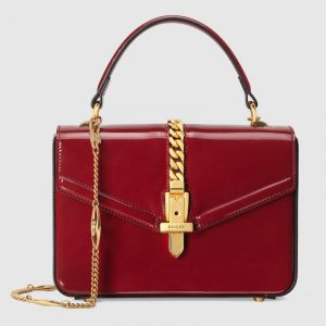Gucci Bordeaux Patent Sylvie 1969 Mini Top Handle Ba