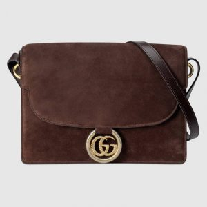 Gucci Brown Suede Medium Shoulder Bag