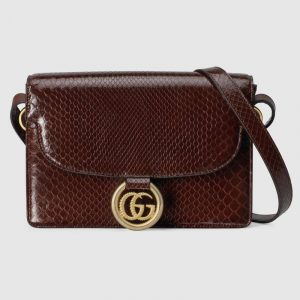 Gucci Chocolate Brown Snakeskin Small Shoulder Bag