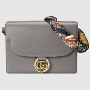 Gucci Dusty Grey Leather Medium Shoulder Bag with Scarf