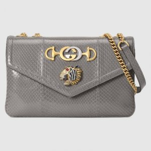 Gucci Dusty Grey Snakeskin Rajah Medium Shoulder Bag
