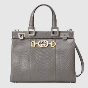Gucci Dusty Grey Snakeskin Zumi Small Top Handle Bag