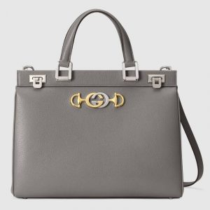 Gucci Dusty Grey Zumi Medium Top Handle Bag