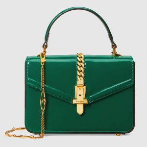 Gucci Emerald Green Patent Sylvie 1969 Mini Top Handle Ba