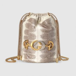 Gucci Grey Snakeskin Zumi Mini Bucket Bag