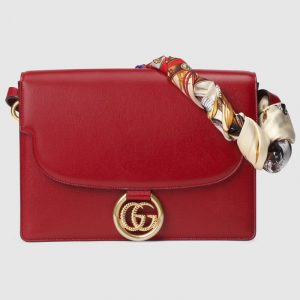 Gucci Red Leather Medium Shoulder Bag with Scarf
