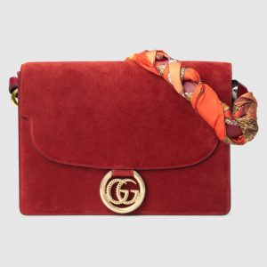 Gucci Red Suede Medium Shoulder Bag with Scarf