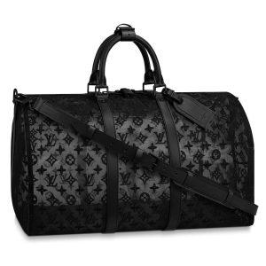 Louis Vuitton Black Monogram See Through Keepall Bandoulière 50 Bag 1