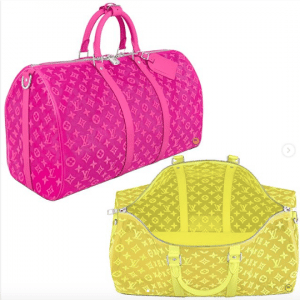 Louis Vuitton Pink and Yellow Monogram See Through Keepall Bandoulière 50 Bags