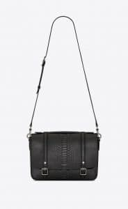 Saint Laurent Black Brushed Python Schoolbag Satchel Bag
