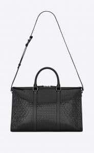 Saint Laurent Black Patent Monogram All Over Medium Duffle Bag