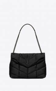 Saint Laurent Black Quilted Loulou Puffer Medium Bag
