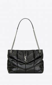 Saint Laurent Black Vinyl Loulou Puffer Medium Bag