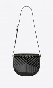 Saint Laurent Black Y-Quilted Patent Joan Satchel Bag