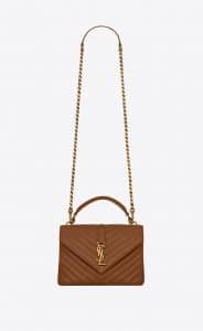 Saint Laurent Brick Matelassé College Medium Bag