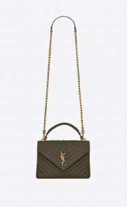 Saint Laurent Olive Matelassé College Medium Bag