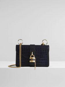 Chloe Aby Chain Shoulder Black Croc Bag