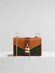 Chloe Aby Chain Tricolor Lizard Effect Bag