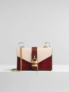 Chloe Aby Chain White Tricolor Lizard Effect Bag