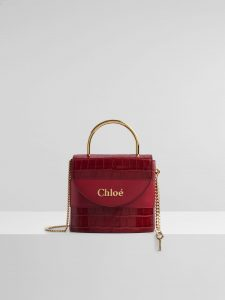 Chloe Small Aby Lock Lizard Effect Red Python Bag