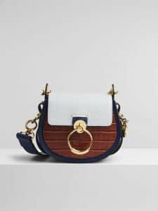 Chloe Tess Bag Tricolor Lizard Effect - White