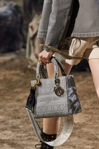 Dior Textile Cannage Print Lady Dior Grey - with Strap - Spring 2020