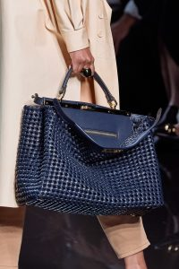 Fendi Dark Blue Woven Peekaboo Bag - Spring 2020