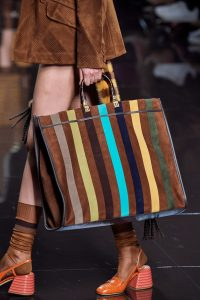 Fendi Leather Suede Striped Tote Bag - Spring 2020