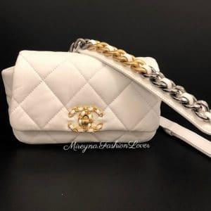 Chanel 19k White Belt Bag
