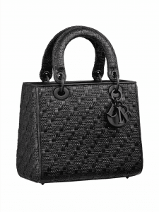 Lady Dior Woven Leather Bag- Black