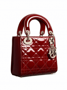 Dior Red Patent Calfskin Lady Dior Bag