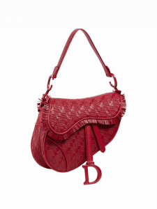 Dior Red Woven Leather Saddle Bag
