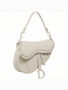 Dior White Woven Leather Saddle Bag
