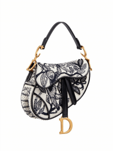 Dior Embroidered Black White Saddle Bag