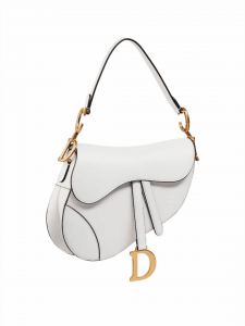 Dior White Calfskin Saddle Bag