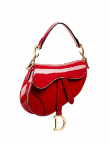 Dior Red Patent Saddle Bag