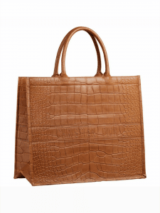 Dior Camel Croc Book Tote Bag