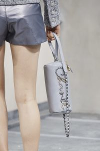 Chanel Grey Chained Logo Clutch - Spring 2020