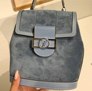 Louis Vuitton Dauphine Blue Suede Backpack Spring 2020