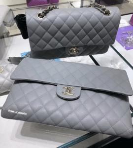 Chanel Grey Caviar Clutch - Cruise 2020