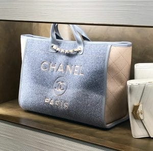 Chanel Wool Grey Deauville Tote