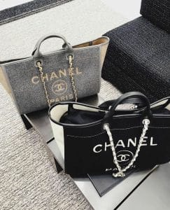 Chanel Wool Deauville Tote Grey and Black