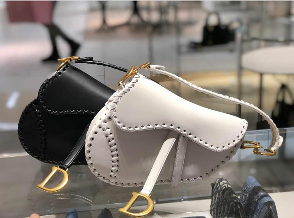 Dior White Saddle Bag with Braided Edge - Cruise 2020