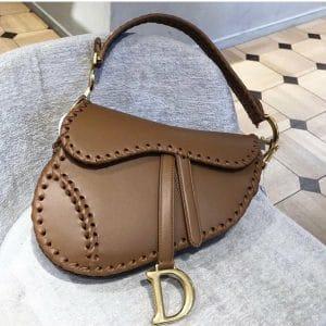 Dior Camel Saddle Bag with Braided Edges - Cruise 2020
