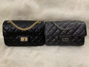 Side by side Chanel Reissue Mini Chain