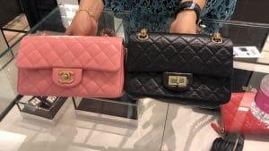 Side by side Chanel Mini versus Reissue Mini