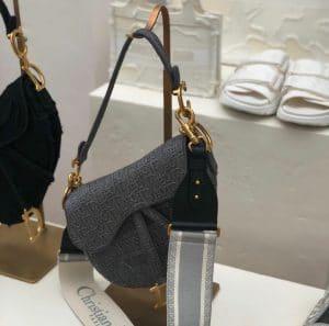 Dior Grey Oblique Saddle Bag