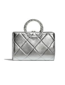 Chanel silver ring quilted bag